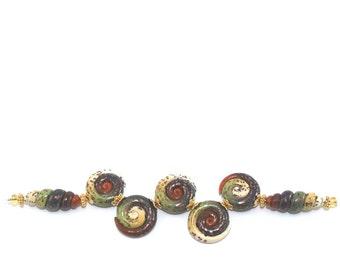 Always earthy Bohemian jewelry beads DIY bracelet Christmas gift stocking stuffers polymer clay beads craft supply round spiral jewelry 7pcs