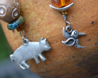 Humming Bird and Pig Mismatched Complimentary Earrings