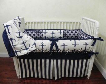 Custom Nautical Baby Bedding Set Harbor -  Boy Baby Bedding, Navy Anchors, Navy Stripes
