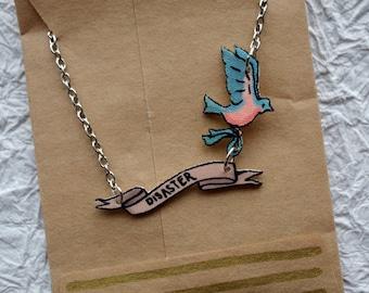 Disaster Bluebird Banner Necklace