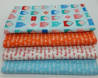 FINAL FRIDAY SALE - 4 Yard Bundle of Sealed with a Kiss Collection Fabric from Robert Kaufman- 4 Fabrics