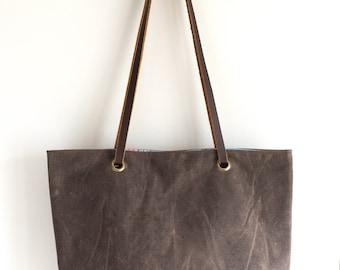 Handbag convertible crossbody bag waxed canvas waxed cotton tote