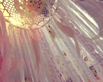Boho Nursery Canopy - Hanging Crib Canopy - Bohemian Bedroom  - Baby Crib Dreamcatcher Mobile - Nursery Decor - Bed Tent - Baby Gift