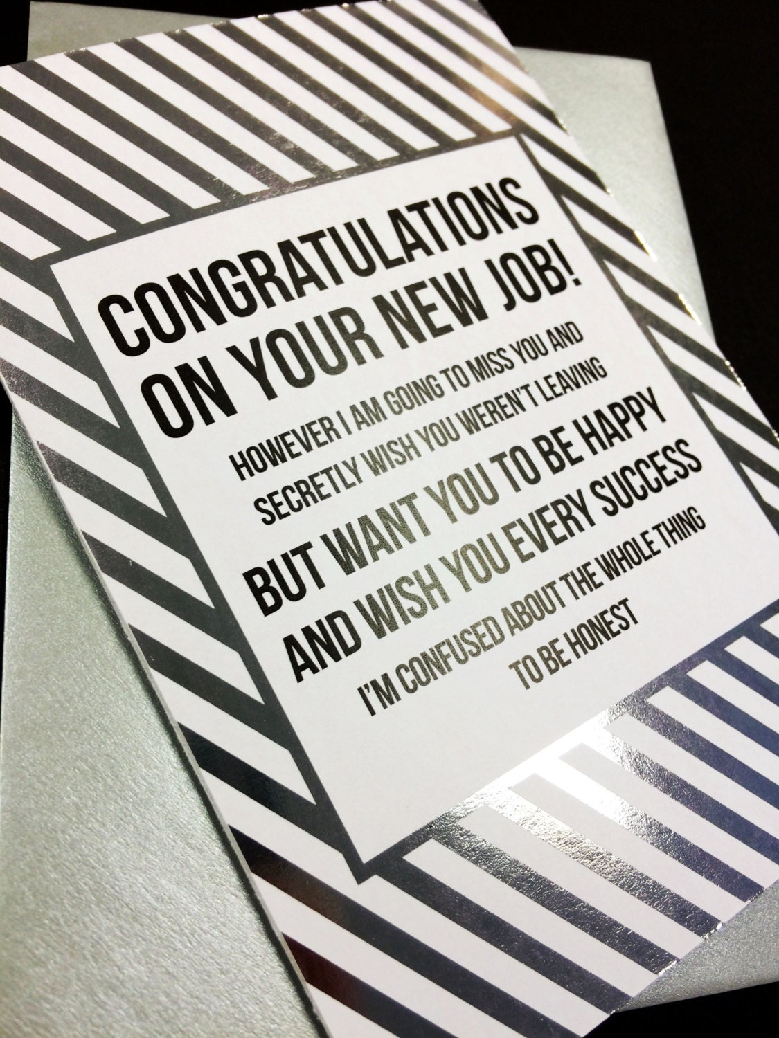 Congratulations on your new job a6 silver foiled greeting request a custom order and have something made just for you kristyandbryce Images