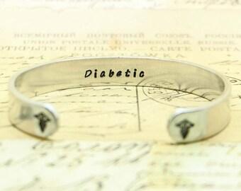 Personalized Cuff Bracelet - Emergency Alert Bracelet, Cuff Bracelet, Diabetic, medical alert bracelet, gift for mom.