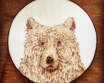 Wood Burned Bear Magnet