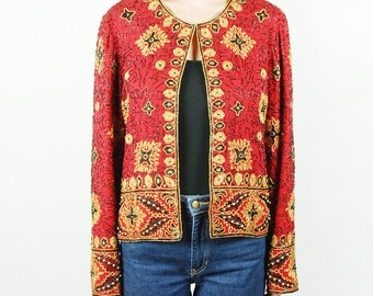 Red, Gold, and Black Sequined and Beaded Long-Sleeved Jacket