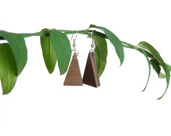 Triangle Walnut Earrings | Handmade Wood Jewellery | Unique Gift Accessories