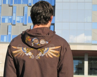 Steampunk wings and goggles hoody - Size Small O9BsRwNPA