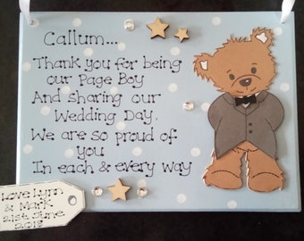Personalised Thank You For Being Our Page Boy Plaque, Wedding Day, Ring Bearer, From Bride & Groom, Thank You Gift, Keepsake, Custom Sign