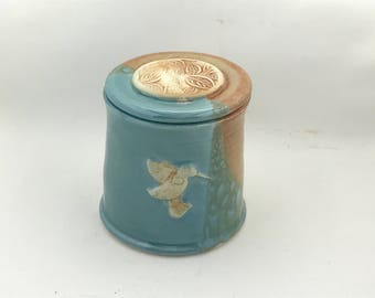 Turquoise French Butter Dish Embellished With a Hummingbird - Butter Crock - Handmade Butter Dish