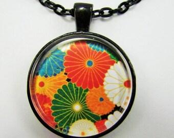 JAPANESE CHRYSANTHEMUMS Necklace -- Stylized chrysanthemums necklace, Modern Japanese Art,  Gift for her,  Friendship token