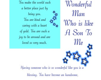 Like a Son Birthday Card with removable Laminate