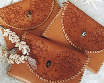 Hand Tooled Leather Clutch w Stone Detail