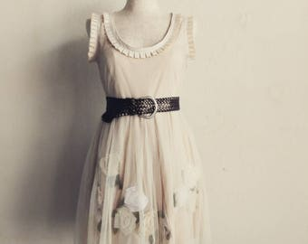 Ready to ship, Bridesmaid dress, RTS,Summer dress, party dress, short dress, reconstructed, upcycled, ivory dress, floral dress, knee length