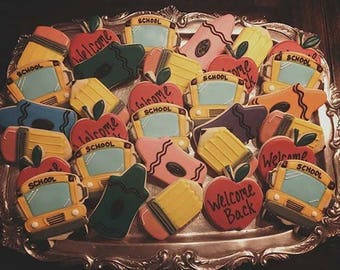 Back to School - Decorated Sugar Cookies - 1 Dozen