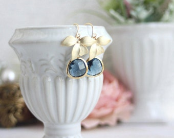 Dark Blue, Sapphire Navy Blue Glass Pendants Gold Plated Orchids Drop Dangle Earrings. Bridesmaid Gifts. Blue Gold Wedding, Modern Everyday