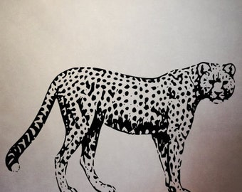Animal, Cheetah, wall decal, wall art, jungle animal decal, cheetah decal, Africa, life size cheetah, jungle party, bedroom decor, spots