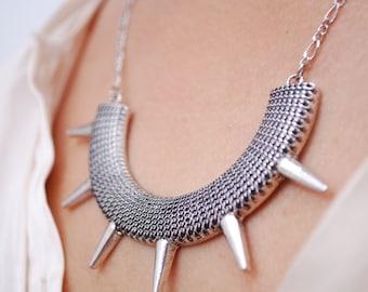 Geometric necklace, Spike silver necklace, Goth jewellery,  Gothic necklace, Halloween jewelry