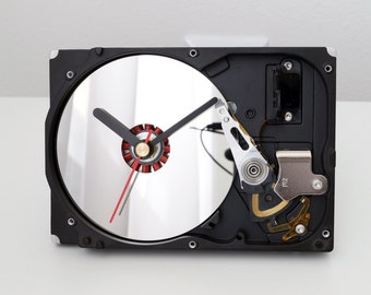 Recycled Computer Clock, Office Clock, Desk Clock, Hard Drive Clock, Clock With Mirror, HDD Clock, PC Clock, Geek Gift, Clock With Mirror