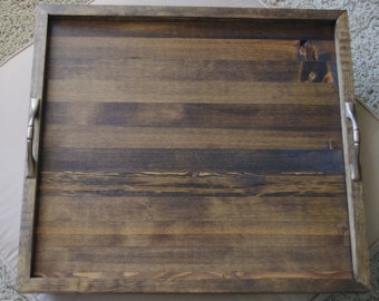 Ottoman Tray - Wood Tray - Dining Tray - Coffee Table Tray - Wood Serving Tray - Breakfast Tray - Tray With Handles - Bed Tray - Rustic Tray