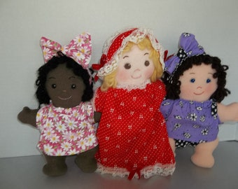 "Easy Cloth Doll PDF Pattern Dozie Rosie  Asleep Awake 8"" Rag Doll Pattern  - Easy Beginner PDF Sewing Patterns by Peekaboo Porch"