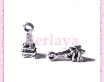 Set of 15 mini REF092X3 silver eiffel tower charms