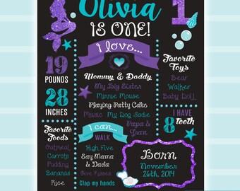 First Birthday Chalkboard, DIGITAL, Mermaid Chalkboard, First Birthday Board, Mermaid invitations, Little Mermaid Birthday, Mermaid party,