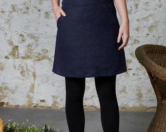 Winter linen Navy skirt - Camellia Skirt