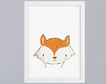 Fox drawn-art print without frame