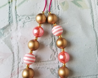 Pink and gold with stripes Bubblegum Necklace