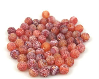 Agate beads dyed in shades of red marble effect X 10 pieces