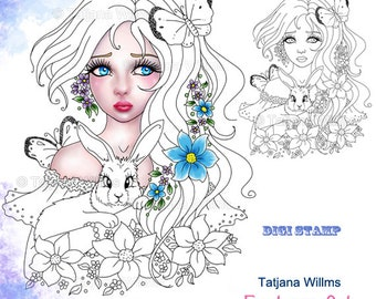 Girl with Bunny - Fantasy Coloring Sheet Digi Stamp Adult Coloring Girl. Easter Bunny Butterfly Flowers Instant Download!