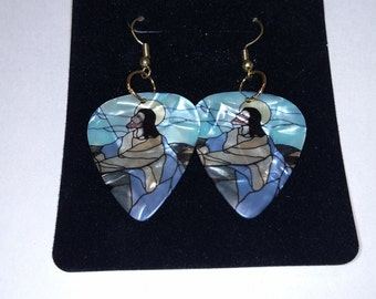 Jesus guitar pick earrings