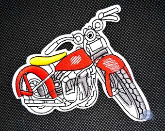 Embroidered back fusible motorcycle motorbike patch 9.5 cm