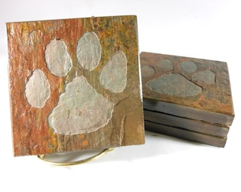 Tiger Paw Coasters - 4 Stone Coasters, Carved Slate Coasters, South Carolina Coasters, Tiger Drink Coasters Tropical Decor, Tiger Gifts