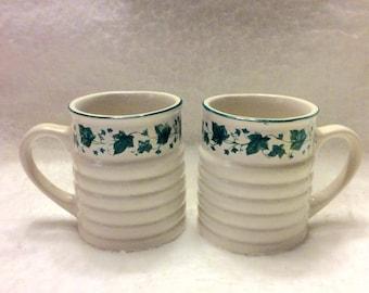 Vintage Himark green ivy decor ridged cerammic cups. Free ship to US.