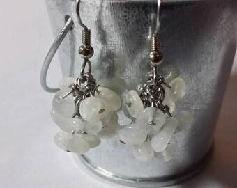 Genuine Moonstone Cluster Earrings