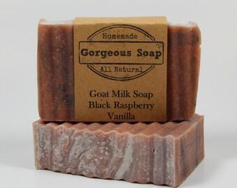 Black Raspberry Vanilla Goat Milk Soap - All Natural Soap, Handmade Soap, Homemade Soap, Handcrafted Soap