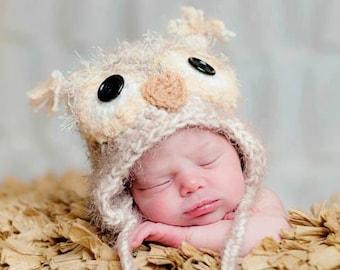 Newborn Owl Hat, Baby Owl Hat, Boy Owl Hat, Girl Owl Hat, Fuzzy Baby Owl Hat - Newborn Photo Prop