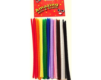 Pipe Cleaners (150mm x 4mm) Assorted Colours 50 pieces