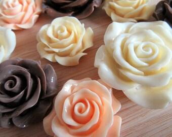 Peaches & Cream Flowers, Pink Roses, Off White Roses, Flower Cabochons, Flower Flatbacks, Roses Cabochons, Roses Flatbacks - Mixed 9 pcs