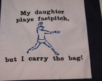 SALE 50% off Large Tote Bag Fastpitch Softball Pitcher Canvas EMBROIDERED Large Bag Mom Navy Blue - Ready to Ship