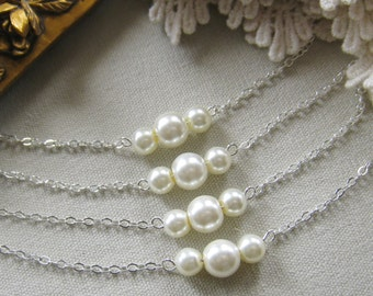 SET of 7 bridesmaid pearl necklace, bridesmaid necklaces, bridesmaids gift wedding jewelry white ivory pearl custom color W006