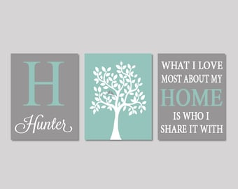 Family Tree Wall Art, Prints Or Canvas, Personalized Bedroom Wall Decor, Love Bird Tree, What I Love Most About My Home, Set of 3