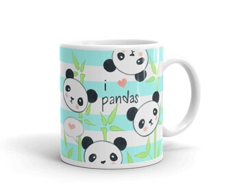Cute coffee mug, I love Pandas Mug, unique mug, Kawaii panda mug, ceramic mug, gift for her, teacher gift, gift for kids