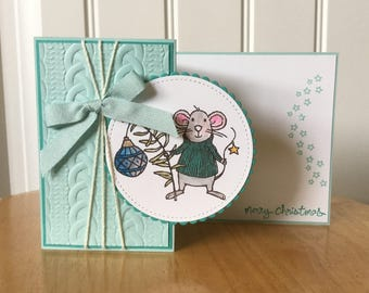 Stampin Up handmade Christmas card - z fold mice with ornament in blue