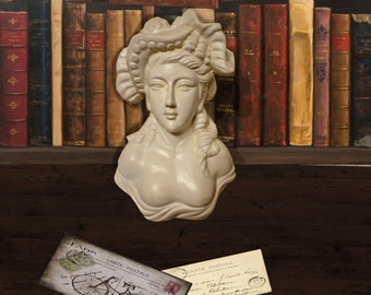Terracotta bust of French lady, painted white