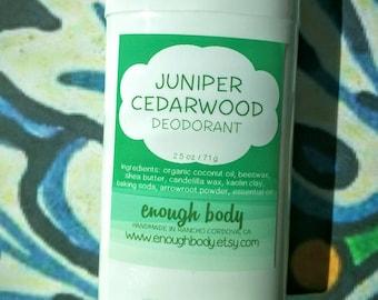 Juniper Cedarwood Natural Deodorant Stick ~ Aluminum Free Deodorant