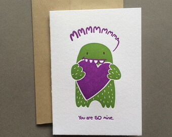 You are SO mine letterpress card